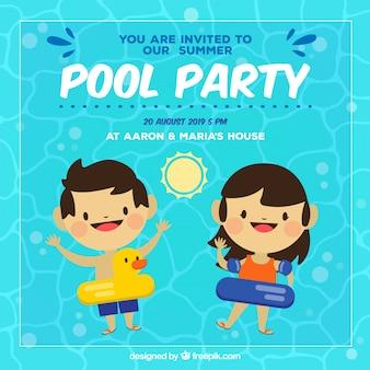 Convite divertido do partido de verão