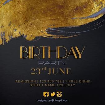 convite do aniversário da tinta dourada