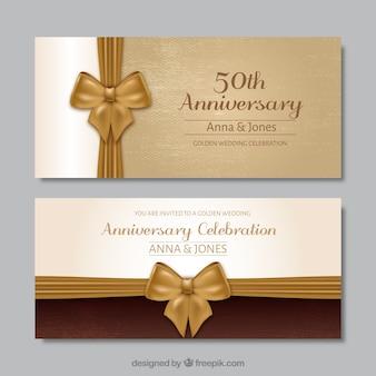 Convite do aniversário de casamento dourado