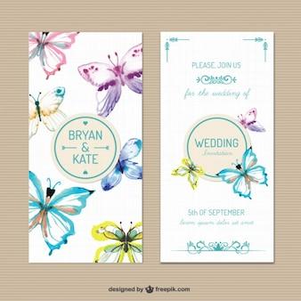 Convite do casamento com borboletas pintadas à mão