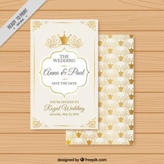 Convite do casamento com coroas de ouro