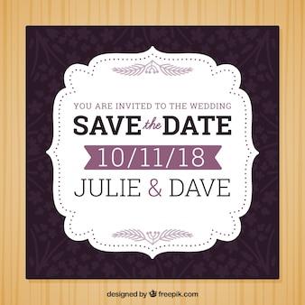 Convite do casamento com elementos roxos