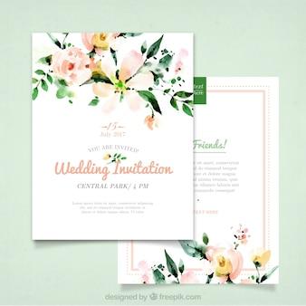 Convite do casamento com flores da aguarela