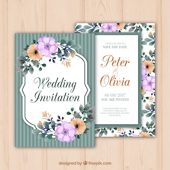 Convite do casamento com flores em estilo retro