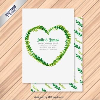 Convite do casamento com folhas em forma de coração