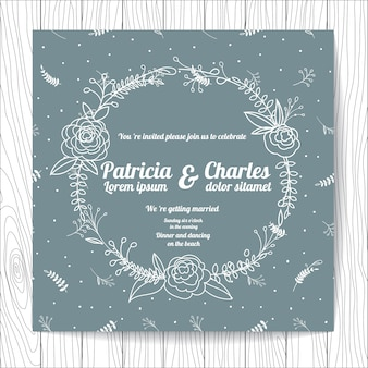 Convite do casamento com grinalda floral e folhas de fundo padrão