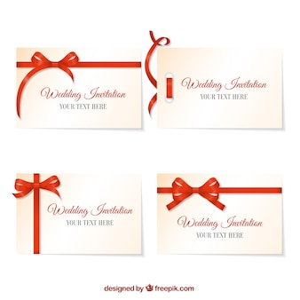 Convite do casamento com laço vermelho