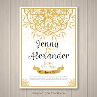 Convite do casamento com mandala dourada