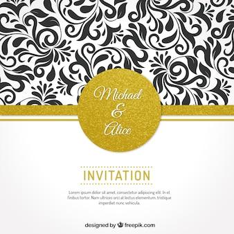 Convite do casamento com ornamentos florais