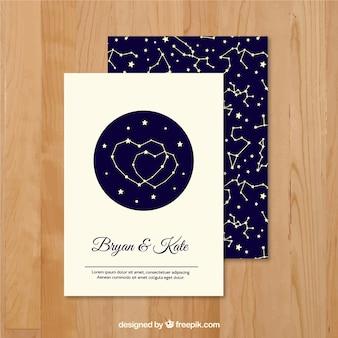 Convite do casamento com padrão de constelação