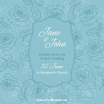 Convite do casamento com rosas tiradas mão