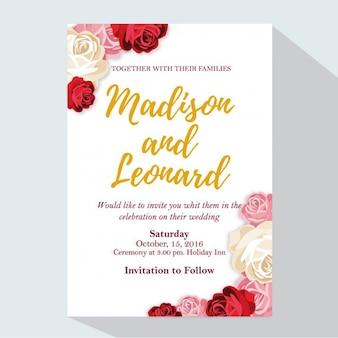 Convite do casamento com rosas