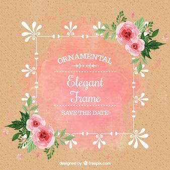 Convite do casamento da aguarela com rosas