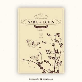 Convite do casamento do vintage com plantas e borboletas