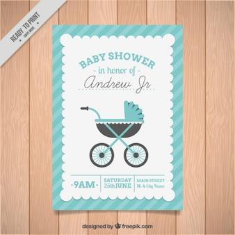 convite do chá de bebê com um carrinho de bebê