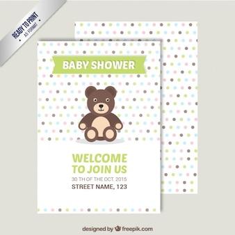 Convite do chuveiro de bebê com urso de peluche