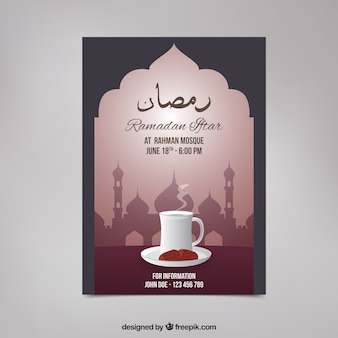 Convite do iftar de Ramadan com chá