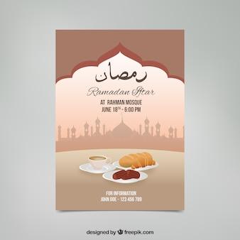 Convite do iftar de Ramadan com elementos do alimento