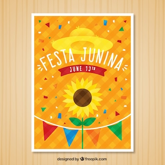 Convite do junina de Festa com confetes e girassol