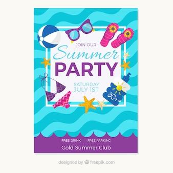 Convite do partido do verão com acessórios da praia