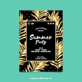 Convite do partido do verão com as folhas de palmeira douradas