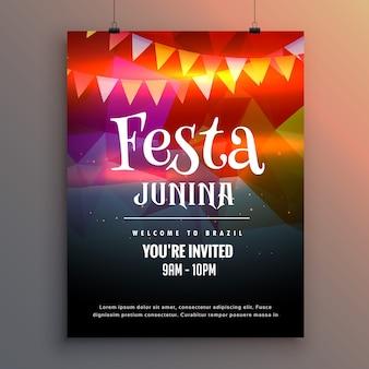 Convite do partido festa junina molde do projeto do insecto