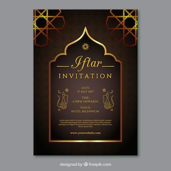 Convite dourado elegante do iftar