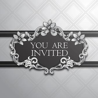Convite elegante com design de prata