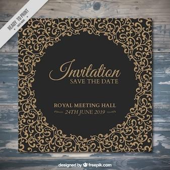 Convite elegante com ornamentos desenhados mão