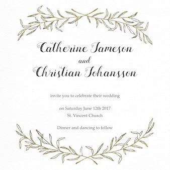 Convite elegante do casamento com folhas douradas do vintage
