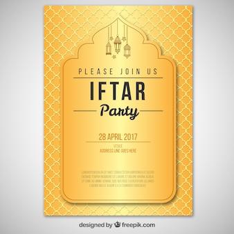 Convite elegante do iftar dourado