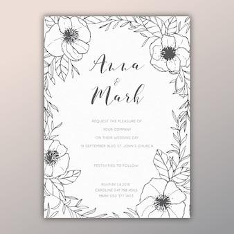 Convite floral de casamento com ilustrações desenhadas à mão