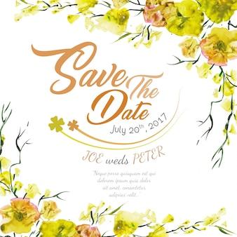 Convite floral do casamento com aguarela amarela