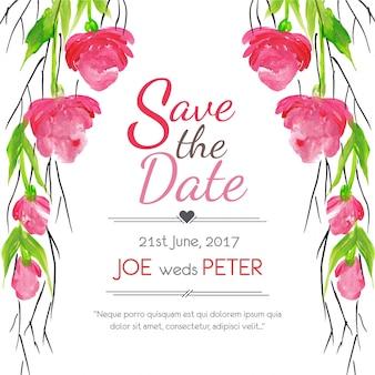 Convite floral do casamento com citações