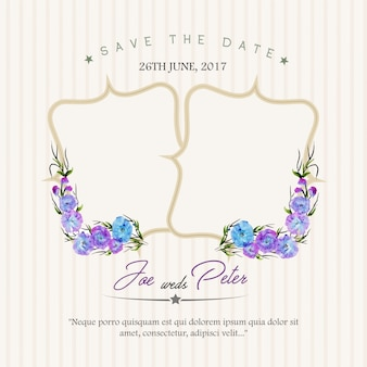 Convite floral do casamento com fundo da listra