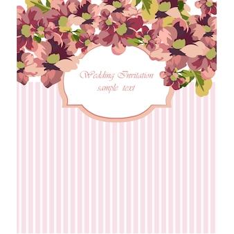 Convite floral do casamento com listras cor-de-rosa