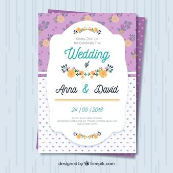 Convite floral do casamento no projeto liso