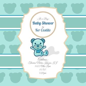 Convite para festa do bebé com ursinho de pelúcia