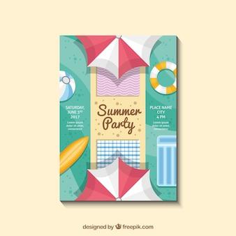 Convite para festa e verão em design plano