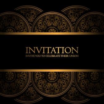 Convite preto e dourado