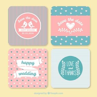 Convites bonitos do casamento do vintage com linhas e corações