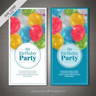 Convites de aniversário com balões