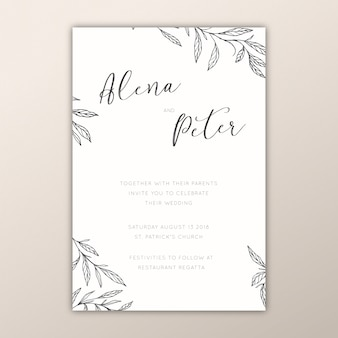 Convites de casamento botânico com ramos desenhados à mão