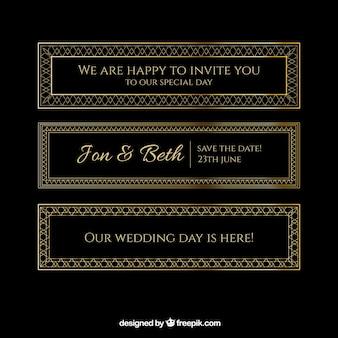 Convites de casamento dourado