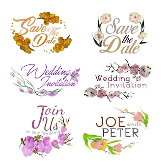 Convites do casamento da aguarela