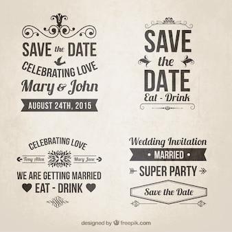 Convites do casamento no estilo retro lettering