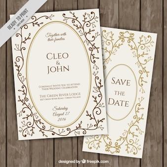 Convites elegantes do casamento com detalhes florais dourados