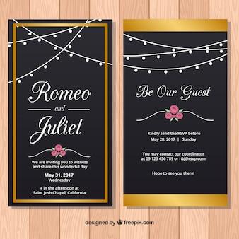 Convites elegantes do casamento com elementos do ouro