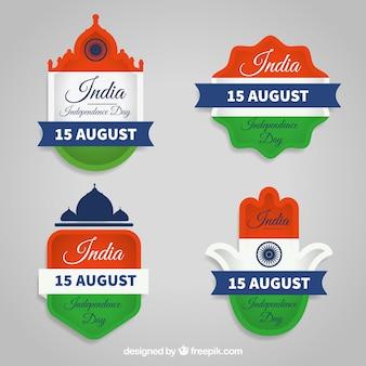 Cool emblemas para o dia da independência indiana