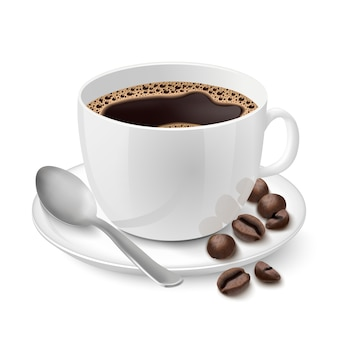 Copo branco realista cheio de café expresso